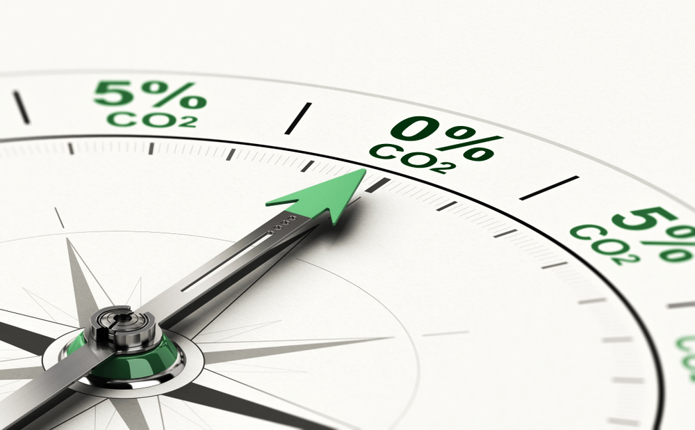 3D illustration of conceptual compass with needle pointing 0 percent of CO2