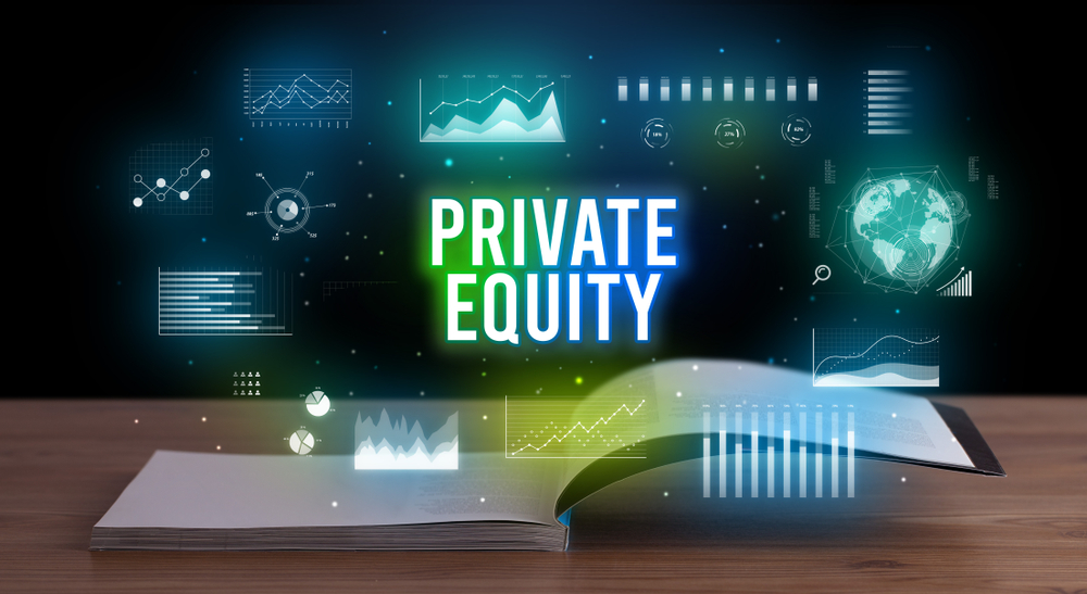 PRIVATE EQUITY inscription coming out from an open book, creative business concept-1